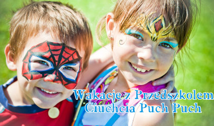 two face painted kids / using imagination / spider and princess